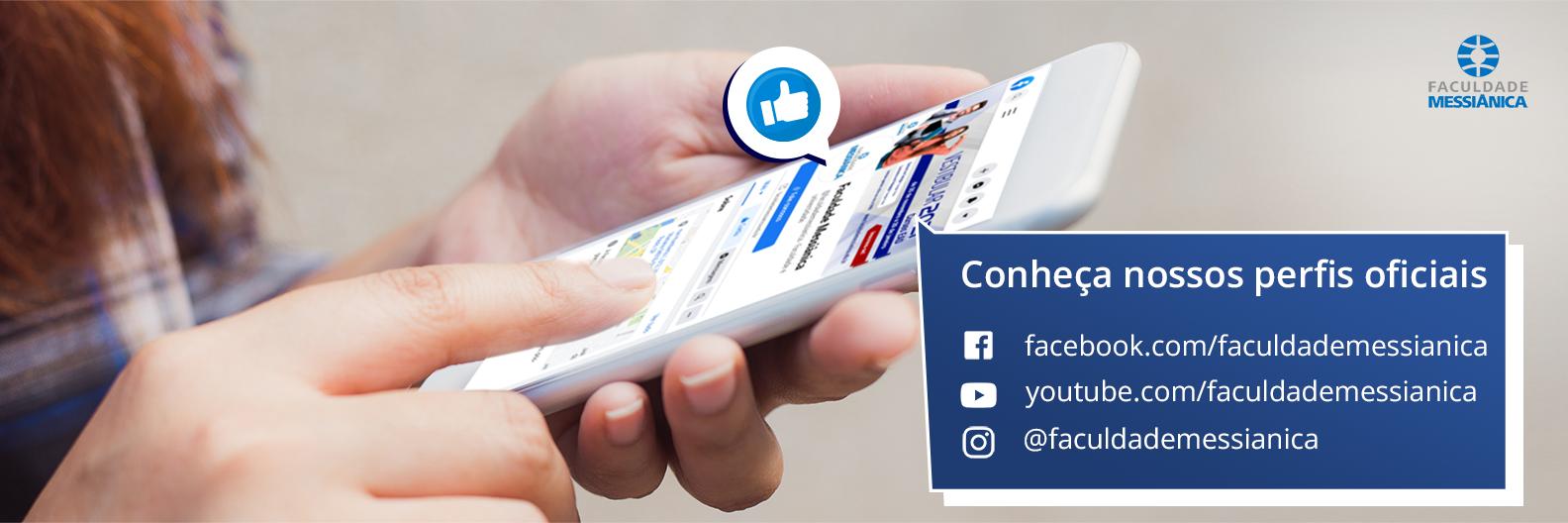 Um celular na palma da mão com o texto Conheça nossos perfis oficiais facebook youtube instagram